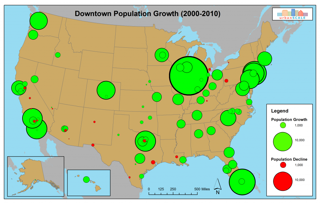 The Most Prosperous Downtowns Of The St Century Part Of - Map of us population change 2000