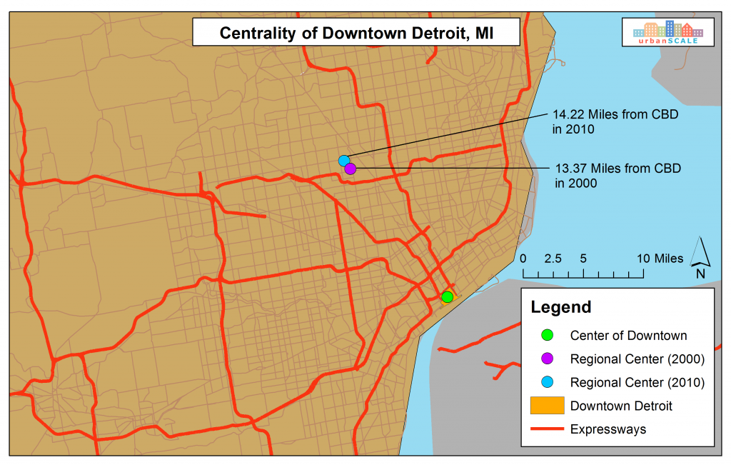 Centrality of Downtown Detroit, MI