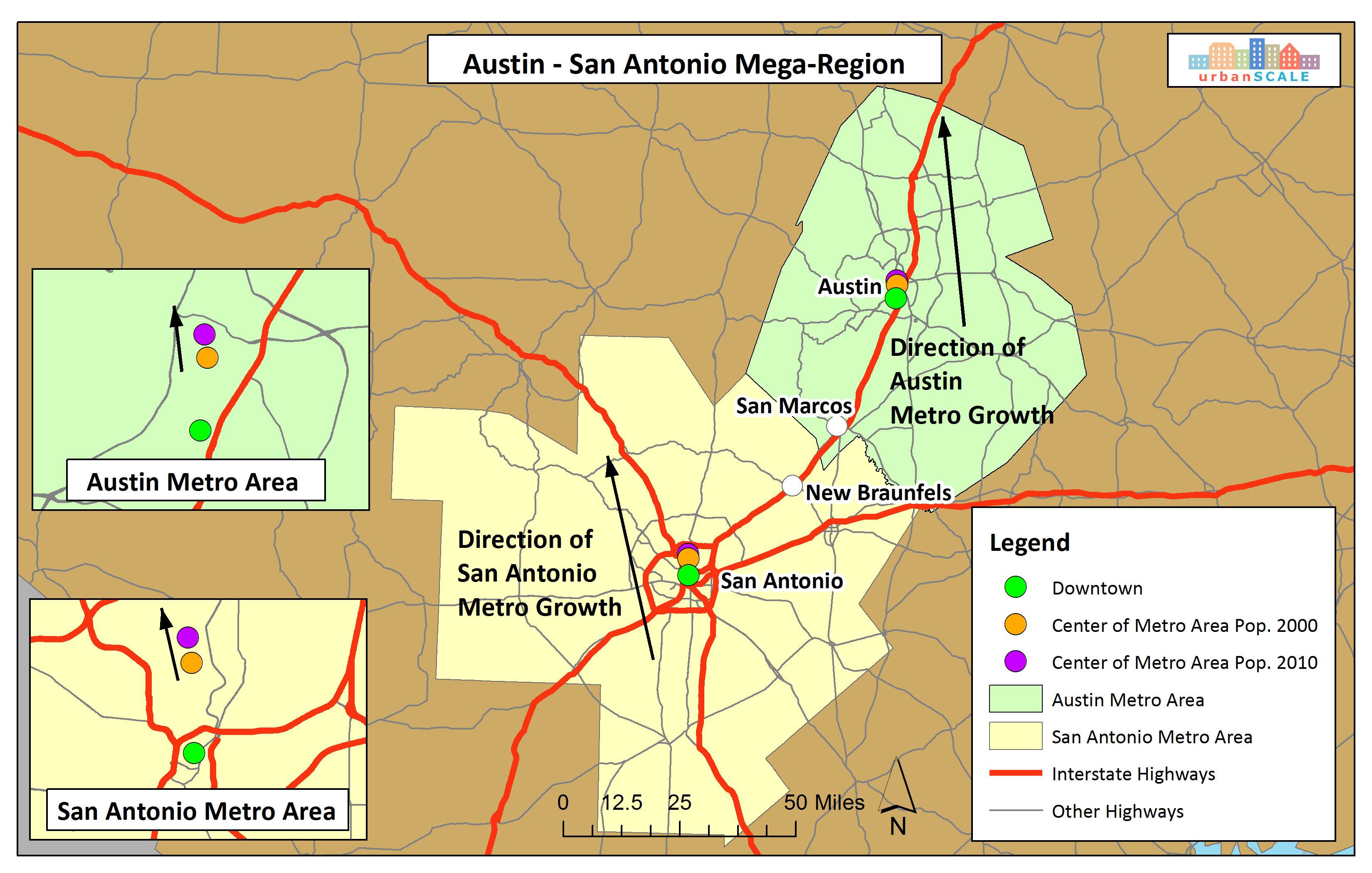 Key Ingredients To Create A MegaRegion UrbanSCALEcom - Austin metro area map