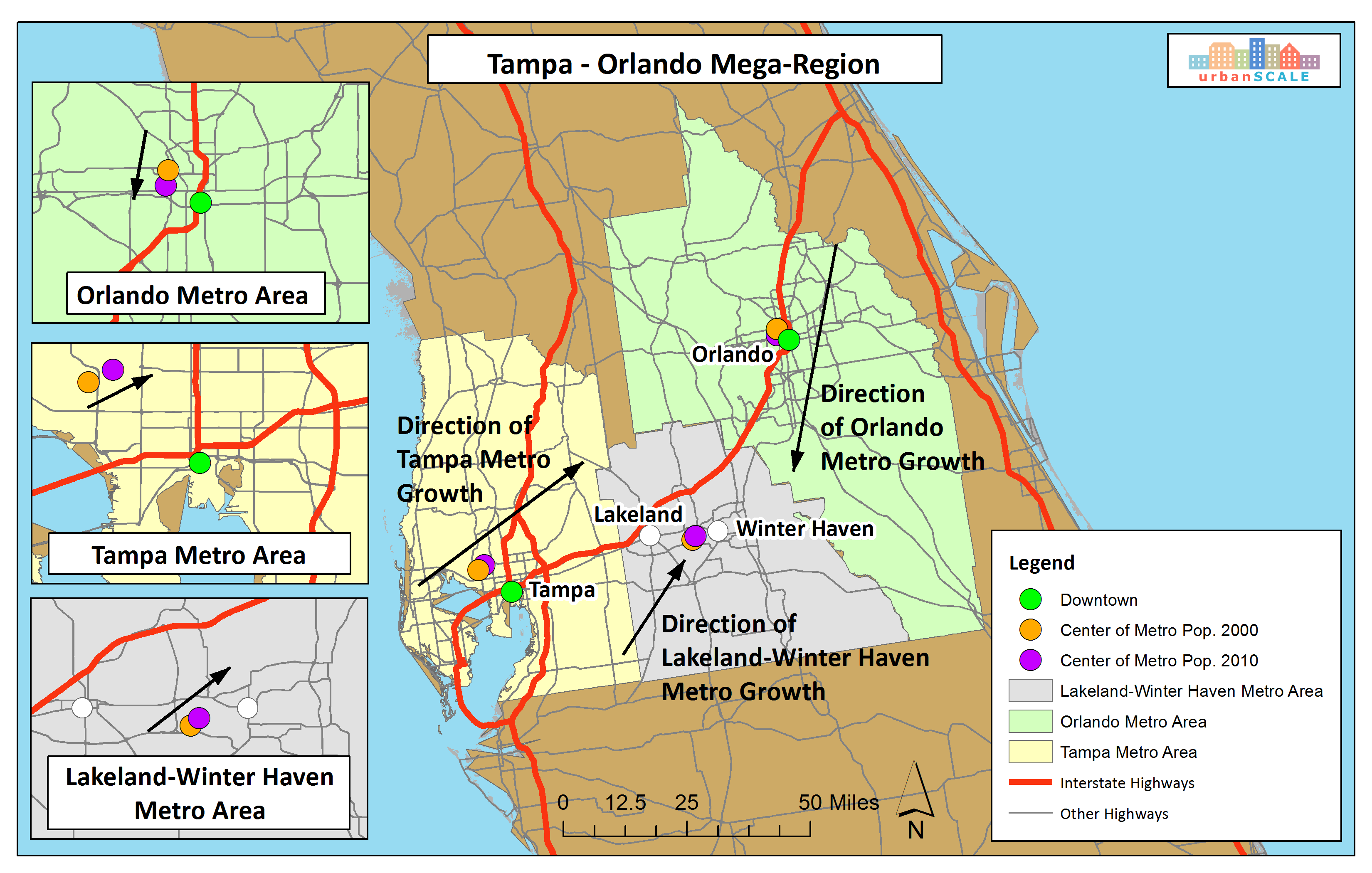 Orlando Metro Map.5 Key Ingredients To Create A Mega Region Urbanscale Com