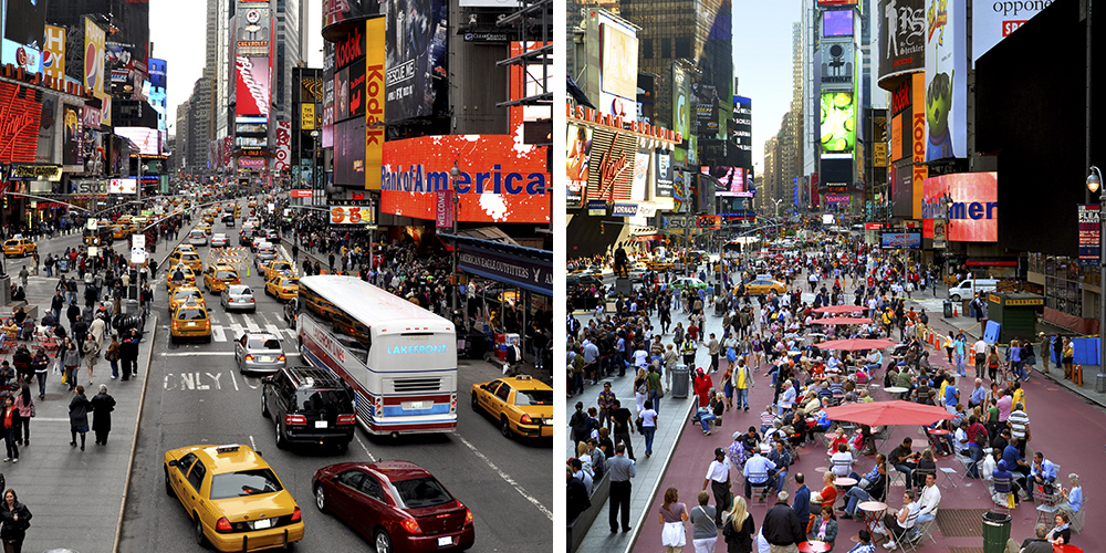 Times Square Broadway Boulevard Pedestrian Zone, Before & After, Image via NYCDOT