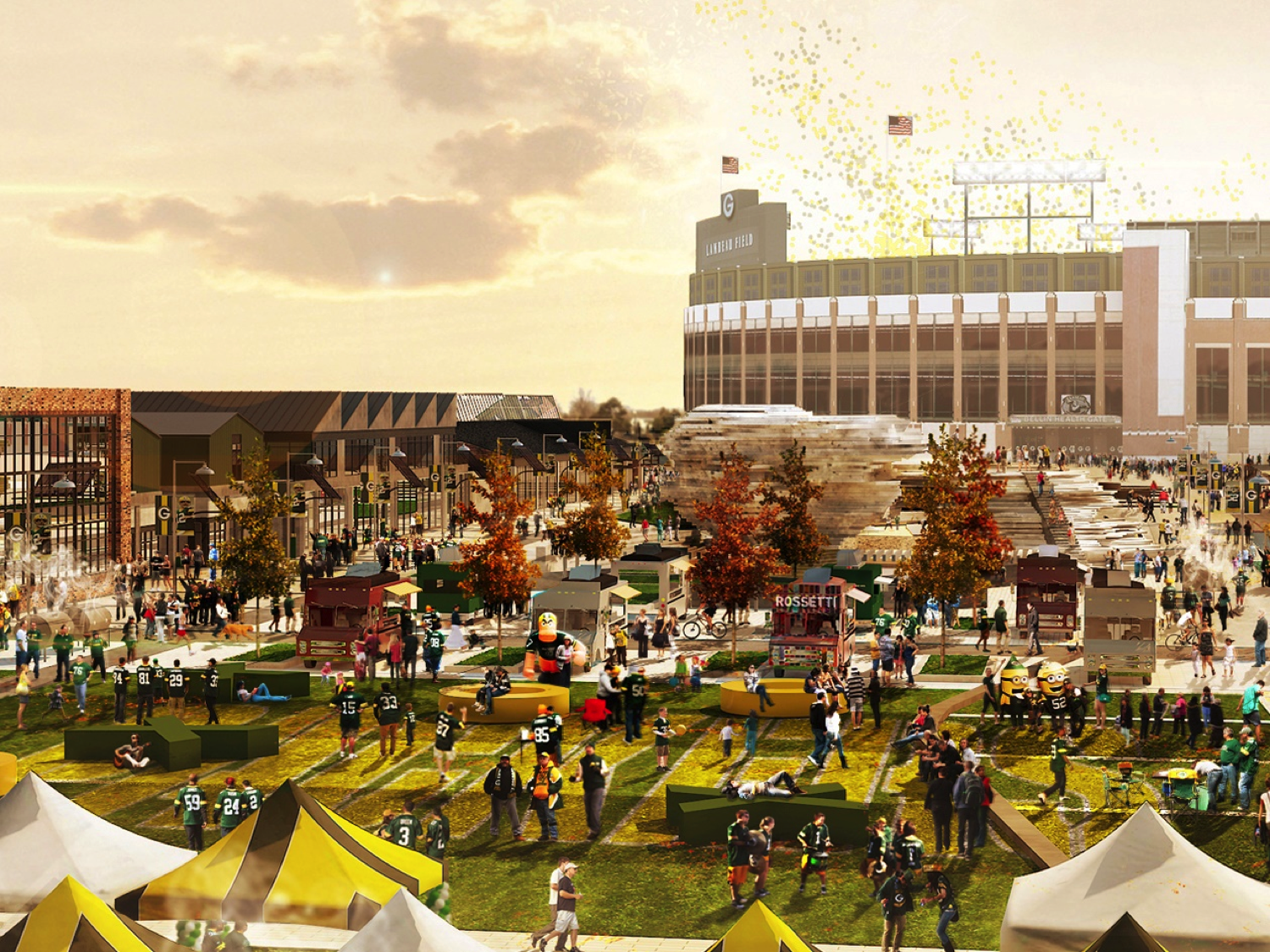 Artist rendering of Titletown District in Green Bay, WI. Image via Rossetti.